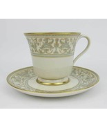 """Gorham """"Lorenzo De Medici"""" Green & Gold Footed Tea Cup And Saucer Set - $13.00"""