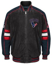Officially Licensed NFL Houston Texans Varsity Suede Leather Jacket LARGE - $102.94