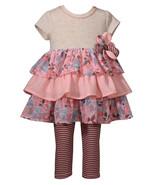 Bonnie Jean Super Cute Coral Ruffled Dress and Striped Leggings Set,12M-4T - $26.99