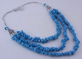 Turquoise Beaded Uncut Necklace Jewelry 60 Gr. ojm-349-10 - $5.22