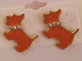 Gold Plated with Orange Enamel Clear Crystals Scottie Dog Pierced Earrings - $8.86