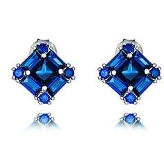 Sterling Silver VVS1 Siginity Dainty Blue Sapphire Miixed Shape CZ Stud Earrings - $39.59