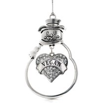 Inspired Silver Vegan Pave Heart Snowman Holiday Christmas Tree Ornament With Cr - $14.69