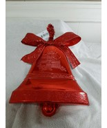 Large Red Plastic Hanging Christmas Bell Decor, Glittery - $11.71