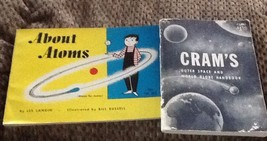 2 Vtg Children Science Books  Cram's Outer Space & Q&A,  About Atoms Ill... - $16.79