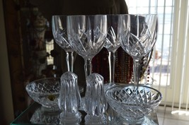 Four 4 Waterford Crystal Clear Goblet(s + Salt Pepper Shakers + 2 Dishes - $129.60