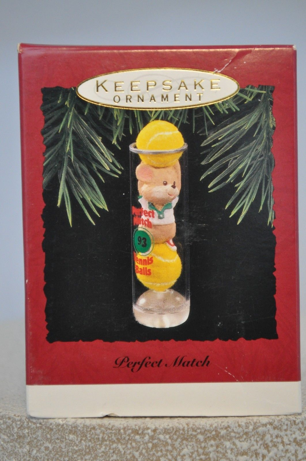 "Hallmark /""Perfect Match/"" Tennis Balls and Mouse  Ornament 1993"