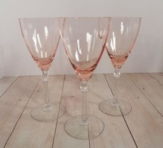Fostoria Elegant Pink Rose Crystal Water Goblet (s) LOT OF 3 Stemware 50... - $79.15