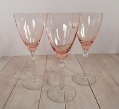 Fostoria Elegant Pink Rose Crystal Water Goblet (s) LOT OF 3 Stemware 50... - $79.15