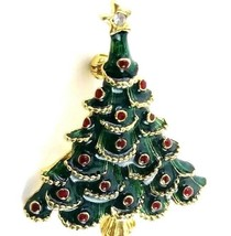 Gold Tone Costume Jewelry Green Enamel Christmas Tree Brooch Pin Unsigne... - $14.99