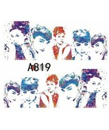 Water Transfer Watermark Art Nails Decal Sticker Audrey Hepburn A819 - $1.73