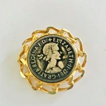 Goldtone Queen  ELIZABETH II Regina Coin Inset Brooch Pin J0607 - $14.24