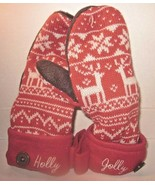 Hallmark Womens Soft Knit Red Mittens with Hidden Message on Cuff Holly ... - $19.99