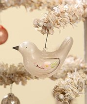 Floral Glass Bird Ornament