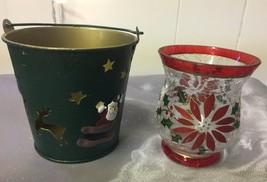 VTG Metal Pail Santa Clause Cut Out Candle Holder w/Poinsettia Glass Vot... - $9.08