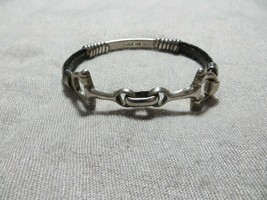 Vintage Sterling Leather Wrap Equestrian Horsebit Bangle Bracelet Taxco Mexico - $59.99