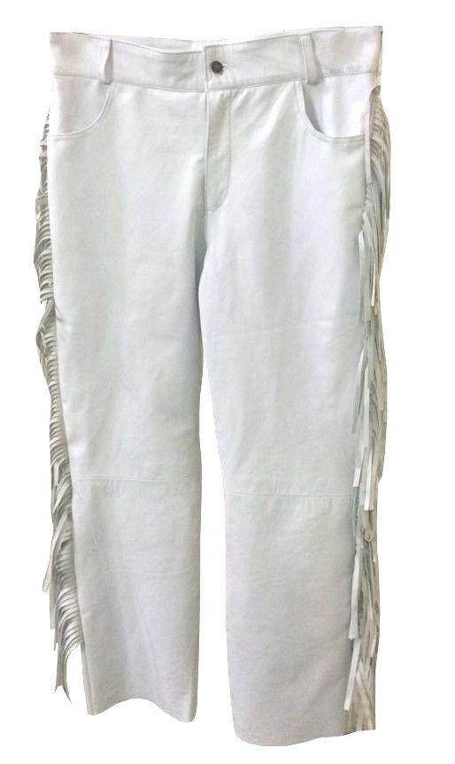 Men's New Native American Buckskin White Leather Beads Hippie Shirt & Pant WS72 image 4