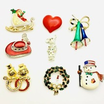 Vintage Brooches Christmas Enamel Holiday Pins Lot Of 8 Pcs - $20.79