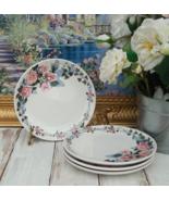 Floral Plates Potpourri Press CHRISTINA Dessert Plates Set of 4 Pink Roses - $135.00