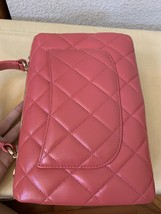 AUTH CHANEL QUILTED LAMBSKIN CORAL PINK TRENDY CC 2 WAY HANDLE FLAP BAG GHW image 4