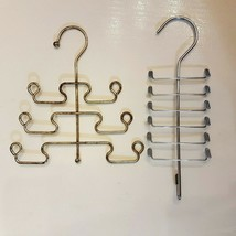 Metal TIE ORGANIZER LOT of 2 Belt Scarf Hanger Closet Organization - £11.28 GBP