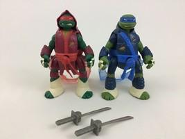 Teenage Mutant Ninja Turtles Throw n Battle Figures Toy 2pc Lot Playmate... - $16.88