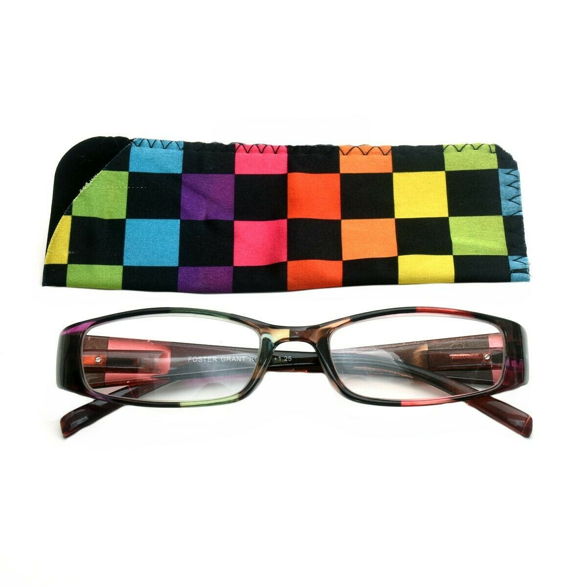 +2.75 Foster Grant Multicolor Reading Glasses Women Spring Hinge Soft Case - $7.95