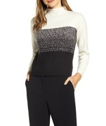 NWT ANNE KLEIN BLACK WHITE COLOR BLOCK SHORT SWEATER  SIZE L $99 - $29.99