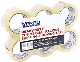 Vergo Industrial Heavy Duty Clear Packing Tape 2.7mil for Moving Packagi... - $11.73