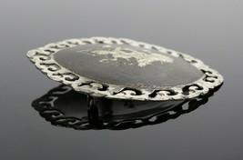 Vintage .925 Sterling Silver Signed SIAM Gray Hindu God Scroll Brooch Pi... - $41.52