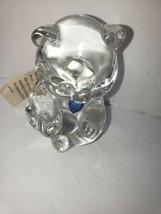 Fenton Vintage Clear Glass Birthday Teddy Bear Figurine Blue Heart Septe... - $15.83