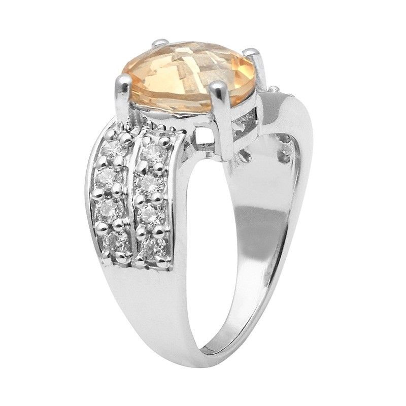 Citrine & White Topaz 925 Sterling Silver Ring Shine Jewelry Size-7.5 SHRI1425