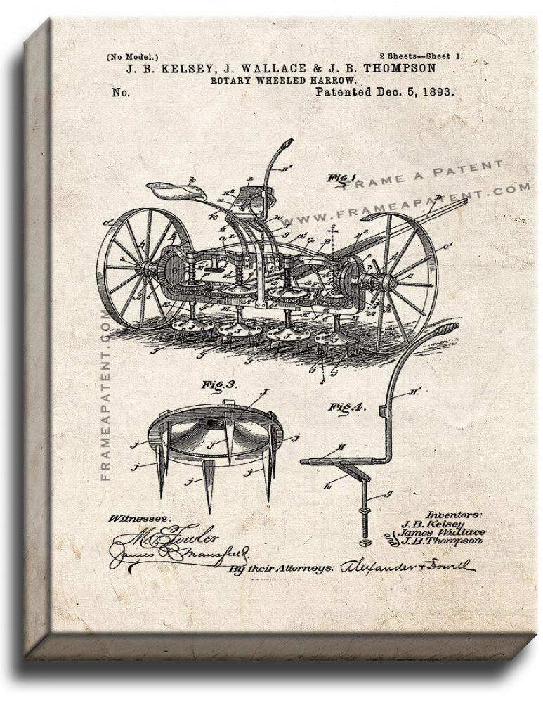 Primary image for Rotary Wheeled Harrow Patent Print Old Look on Canvas