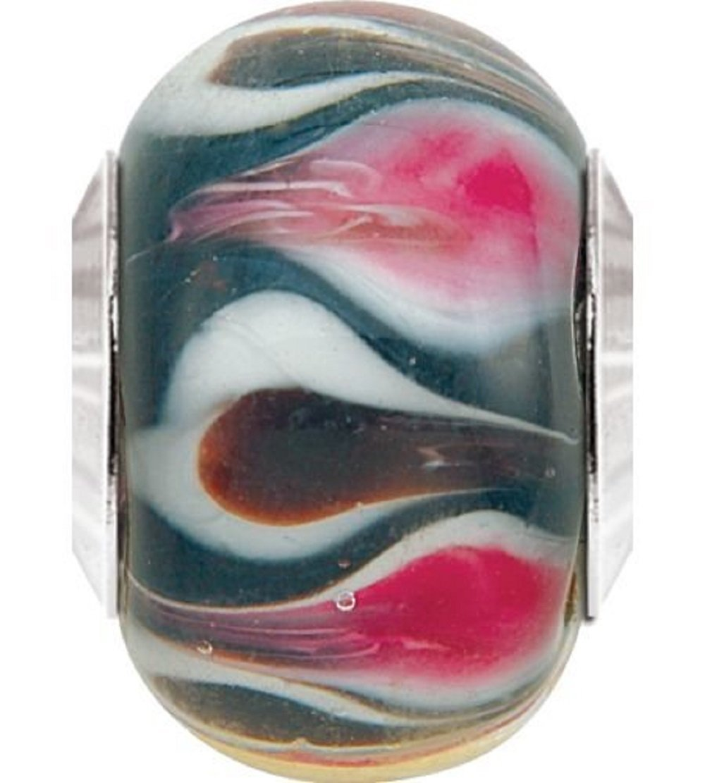 "Persona Sterling Silver & Glass ""Black with Pink & White"" fits Pandora, Troll &"