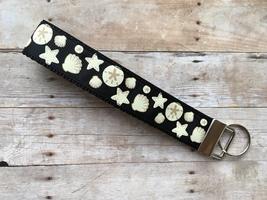 Summer Beach Seashells Ocean Star Fish Sand Key Fob Wristlet Keychain Lanyard  - $8.00