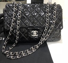AUTHENTIC CHANEL BLACK QUILTED PATENT LEATHER JUMBO CLASSIC FLAP BAG SHW image 2
