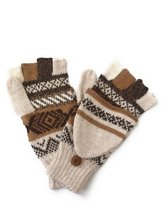 Alpaca flip back mitten gloves. Elegant and warm! Unisex. (Beige) - $474,56 MXN+