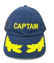 Dorfman Pacific Navy Captain Trucker Cap Adjustable Hat Snap Back Embroi... - $13.10