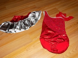 Child Size 6X-7 Cicci Red Metallic Silver Sequined Dance Leotard & Skirt... - $28.00