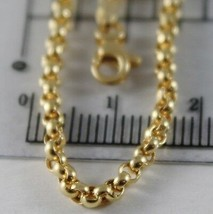 18K YELLOW GOLD CHAIN 17.70 IN, DOME ROUND CIRCLE ROLO LINK 2.5 MM MADE IN ITALY image 2