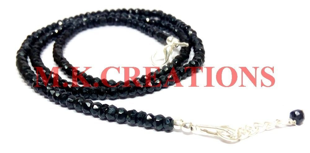 """Sterling Silver Natural Black Spinel 3-4mm Beads Beaded Chain 18"""" Fine Necklace"""