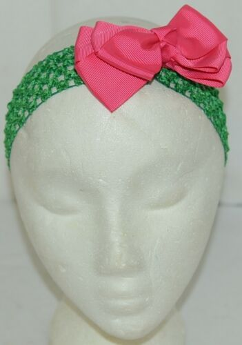 Unbranded Girl Infant Toddler Headband Removable Hair Bow Hot Pink Green
