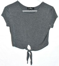 Lulus Women's Taking Chances Heathered Gray Knot Crop T-Shirt Top Size S