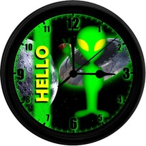"HELLO Alien No.3, EXCLUSIVE! 8"" Homemade Wall Clock, Black, Free Shipping! - $23.97"