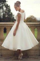 60s Vintage Short Tea Length Neck Satin Wedding Gown image 2