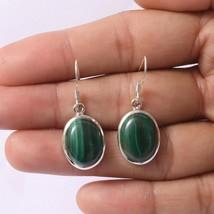 Malachite Gemstone Dangle Earring 925 Solid Sterling Silver Handmade Jew... - $13.55
