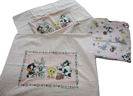 Vintage Looney Tiny Tunes Twin Bed Duvet Cover + 2 Pillowcases Pink Gingham - $55.94
