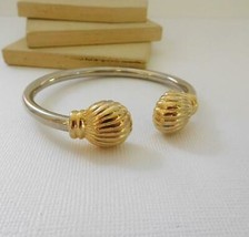 Vintage Silver & Gold Plated Seashell Cuff Bangle Bracelet D22 - $22.27