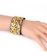 UNITED ELEGANCE Striking Cuff Wristband With Stones & Swarovski Style Cr... - $11.99