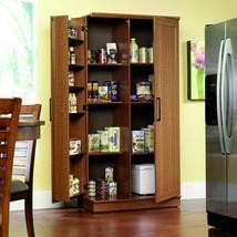 Oak Finish Pantry Storage Cabinet Wooden Laundry Home Office Organizer C... - $414.71